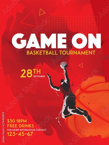 Fotografía basketball tournament poster graphic template
