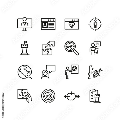 Photo  Business strategy line icon set