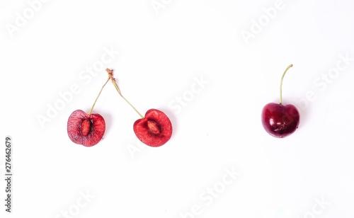 Fotografie, Obraz  cherries on white background