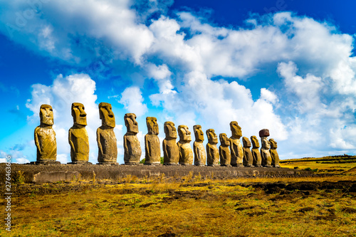 Photo The 15 Moais at Ahu Tongariki in Rapa Nui National Park on Easter Island
