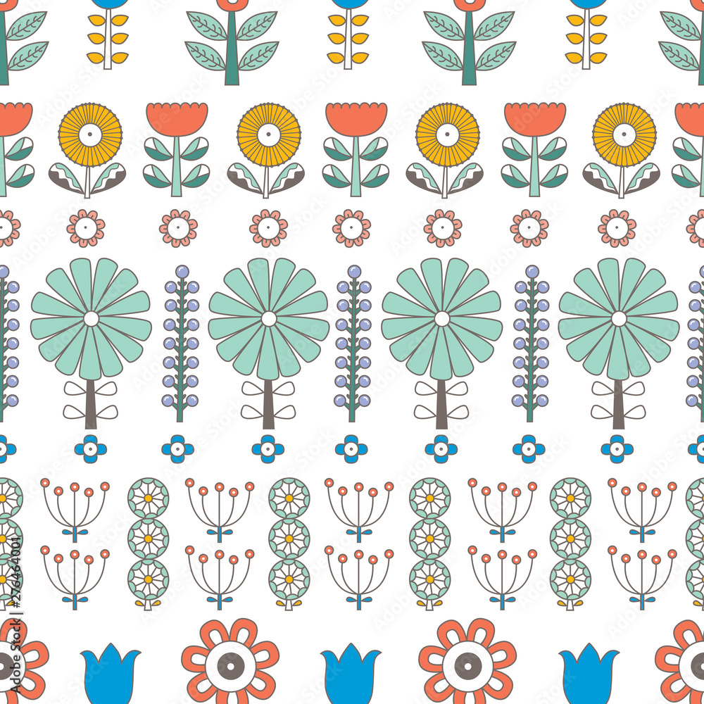 Flowers in Scandinavian style. Summer motive. Vector seamless pattern.Can be used in textile industry, paper, background, scrapbooking.