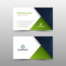 Green Dark Business Card Concept.  Busines Card Template - Vector