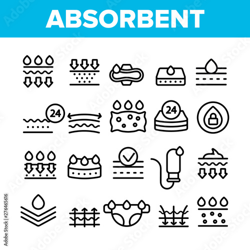 Absorbent, Absorbing Materials Vector Thin Line Icons Set Canvas Print