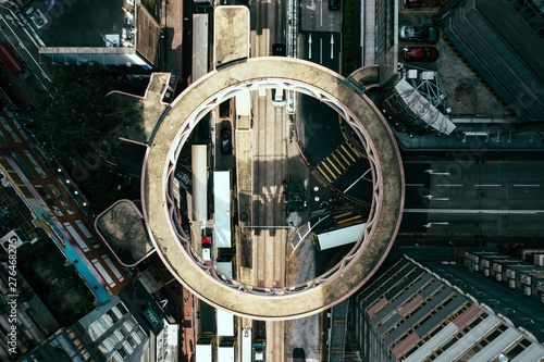 Circular Footbridge in Hong Kong Canvas Print