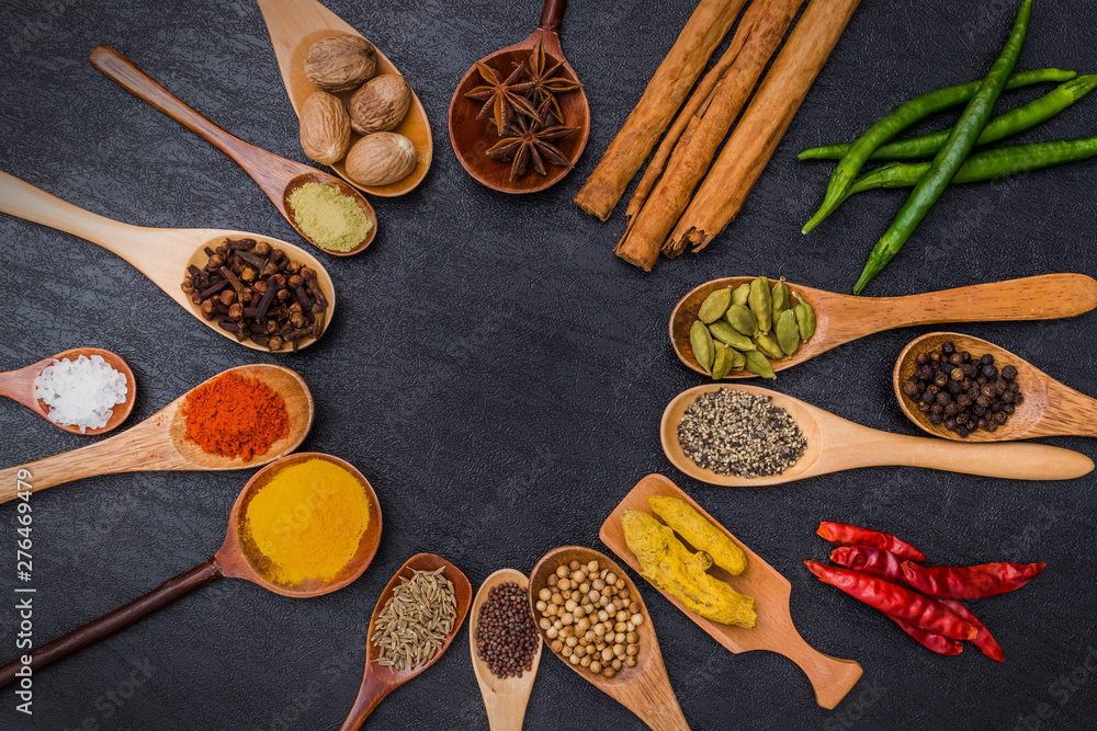Fototapety, obrazy: インド料理のスパイス集合写真 Spice India dish of the curry