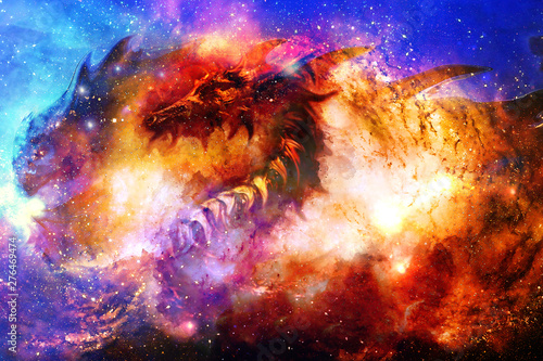 Obrazy smoki cosmic-dragon-in-space-cosmic-abstract-background