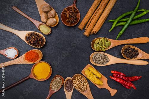 インド料理のスパイス集合写真 Spice India dish of the curry