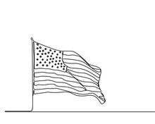American Flag Continuous One Line Drawing Minimalist Design. United States Of America Symbol.