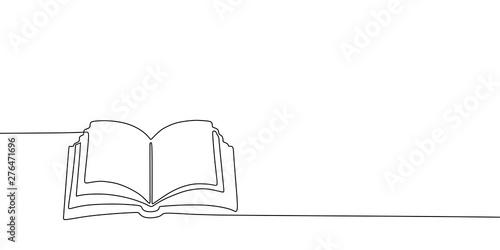 Fototapeta  Book one line drawing banner