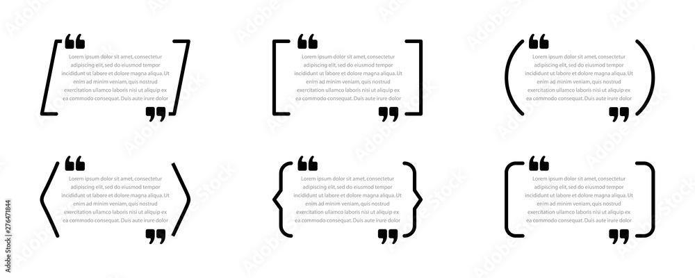 Fototapeta Set of quote boxes. Speech bubbles isolated on white background