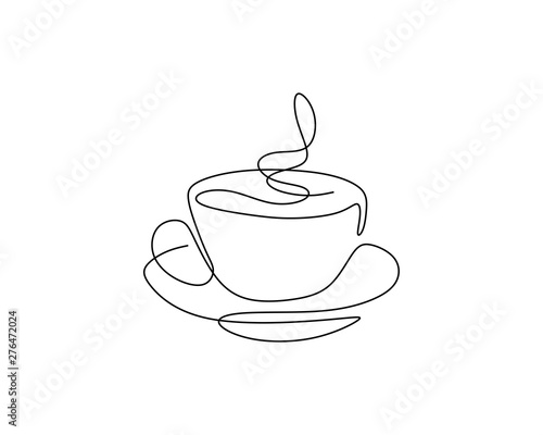 Fotografia Continuous one line drawing of a cup of coffee minimalist design minimalism styl