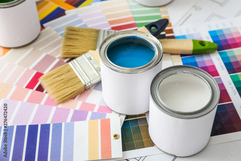 Fototapety, obrazy: Cans of paint with brushes and palette samples