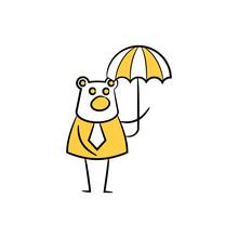 Business Bear Holding Umbrella Yellow Doodle Theme