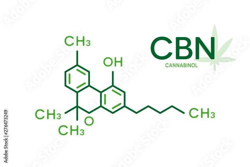 Cbn Molecular Formula Cannabinol Molecule Structure On