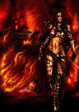 Barbarian Woman Warlord/Illustration A Fantasy Warrior Woman With A War Paint. Burning Medieval Town In The Background. Digital Painting