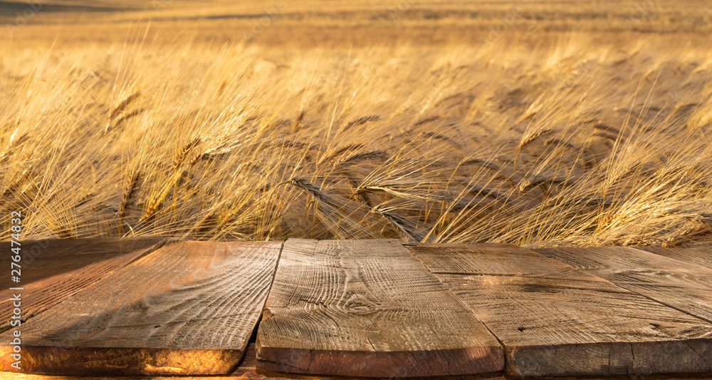 Fototapety, obrazy: wood board table in front of field of wheat