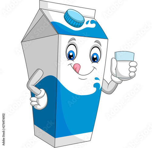 Fényképezés Cartoon milk box holding a glass of milk