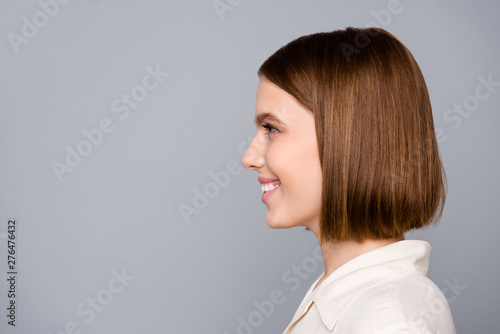 Fototapeta Close up side profile photo beautiful amazing she her lady look interested curious listen empty space colleagues gathering wondered learn news wear casual white shirt isolated grey background obraz