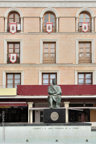 Statue of Alfonso X in the Main Square of Ciudad Real, La Mancha, Spain
