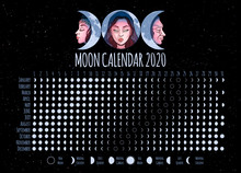 Moon Calendar, 2020 Year, Luna...