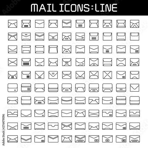 big set of mail, email and envelope icons line design Fototapet
