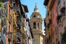 Cathedral Of Pamplona From Curia Street, Spain