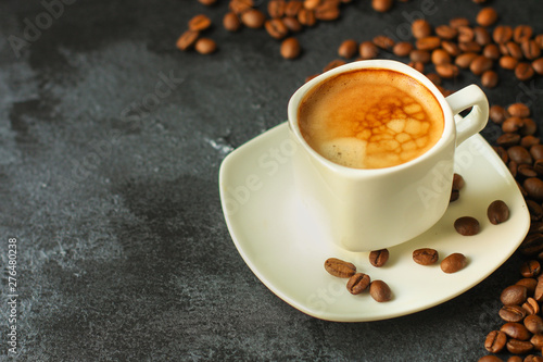 Wall Murals Cafe coffee drink and coffee grain. top view. copy space