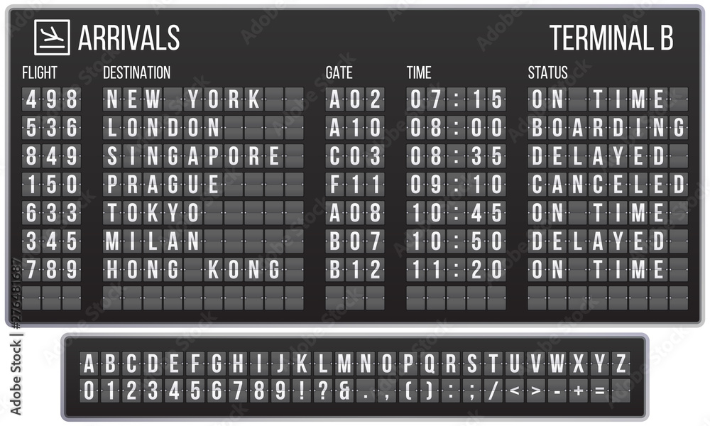 Fototapety, obrazy: Scoreboard flip font. Arrival airport signs board, railroad arrivals and departures scoreboards letters. Flipping departure countdown, arrivals counter realistic vector symbols set