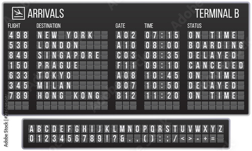 Leinwand Poster Scoreboard flip font