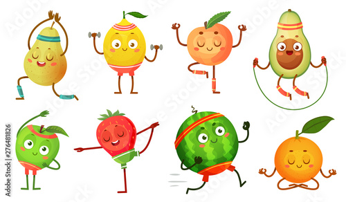 Fruit Characters Yoga Fruits In Fitness Exercises Poses Wellness Food And Funny Sport Fruit Tropical Fruit Workout Pose Healthy Gym Sport Character Isolated Cartoon Vector Icons Illustration Set Buy This Stock