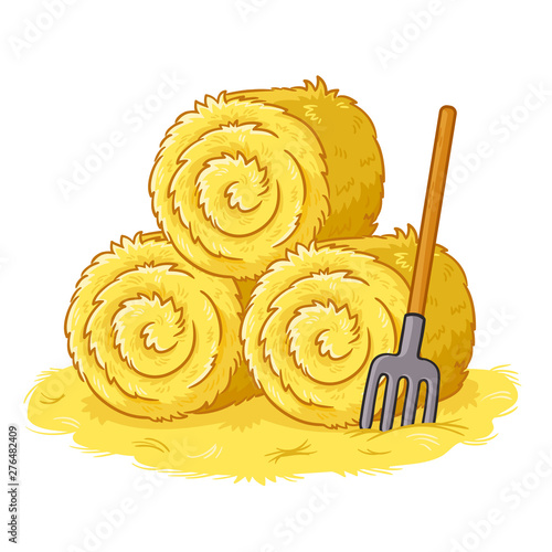 Fotografía Bales with hay and pitchforks on a white background