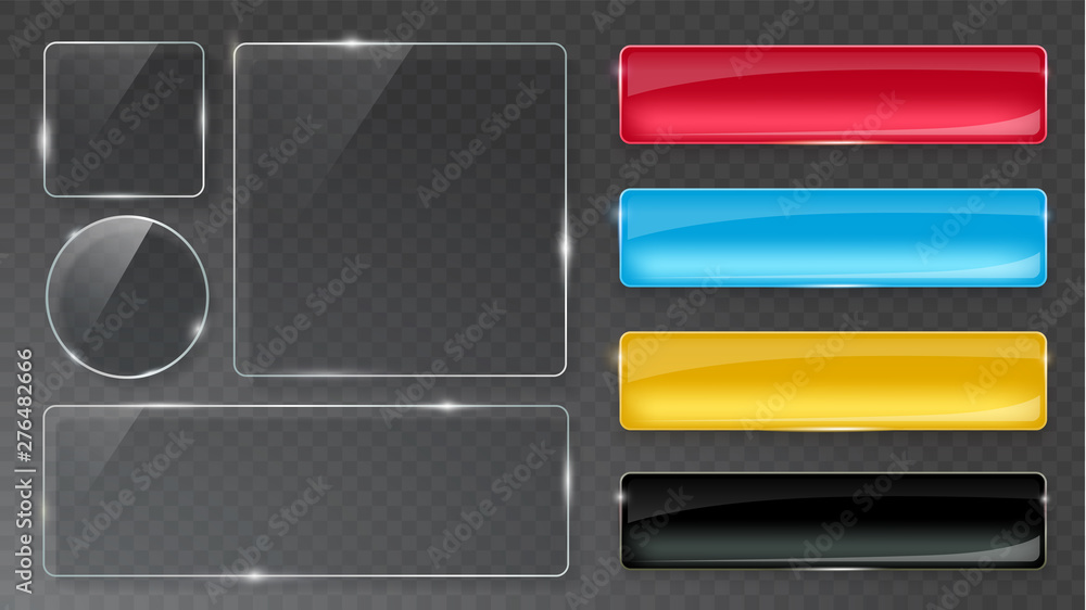 Fototapety, obrazy: Glass plates set. Realistic transparent and multicolored glass buttons. Vector glass banners on gray background.