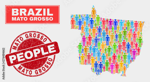 Foto  Demographic Mato Grosso State map abstraction