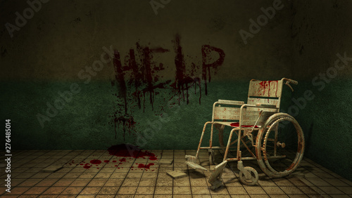 Horror and creepy walk way and wheelchair in front of the examination room in the hospital and help Blood Canvas Print