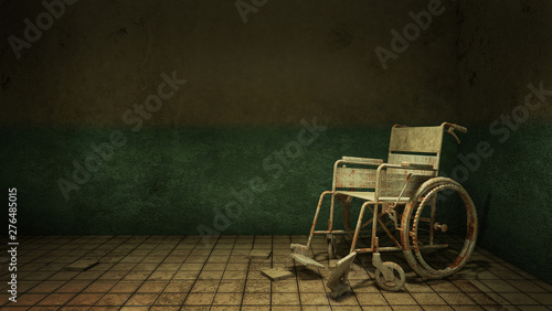 Horror and creepy walk way and wheelchair in front of the examination room in the hospital Canvas Print
