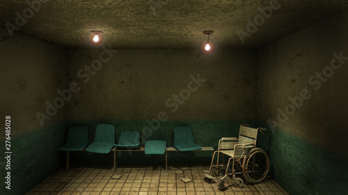 Horror and creepy seat waiting and wheelchair in front of the examination room in the hospital Canvas Print