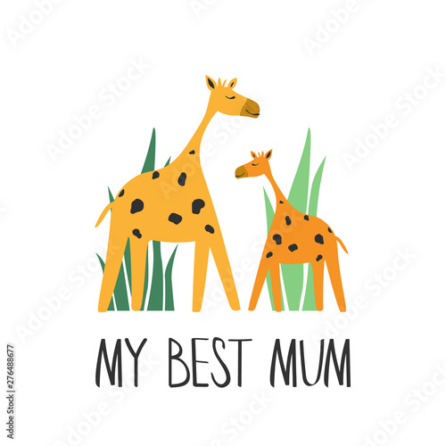 Decorative cute illustration with giraffes and english text, poster design. Colorful background vector. My best mum. Cartoon wallpaper. Hand drawn backdrop. Mothers Day