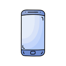 Smartphone Line Art Icon, Outline Style Vector Illustration, Simple Mobile Phonehand Drawn Sketch Isolated On White Background