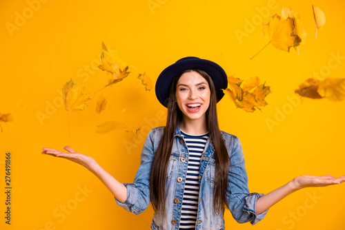 Portrait of her she nice-looking winsome attractive lovely optimistic cheerful c Canvas