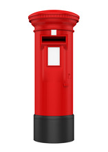 Red England Post Box Isolated