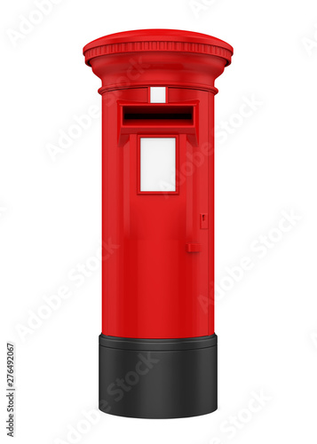 Red England Post Box Isolated Wallpaper Mural