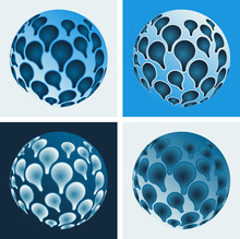 Set Of Raindrops Spheres With Petals Reflection In Blue Shades