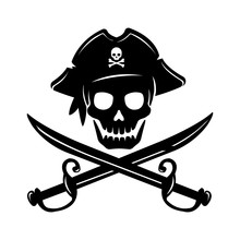 Pirate Skull Emblem Illustrati...