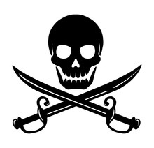 Skull Emblem Illustration With Crossed Sabers.