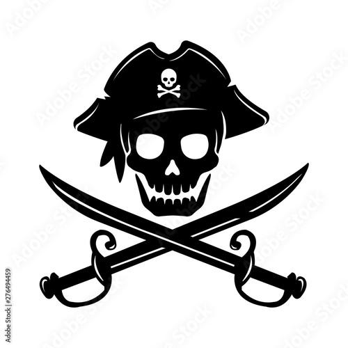 Cuadros en Lienzo Pirate skull emblem illustration with crossed sabers.
