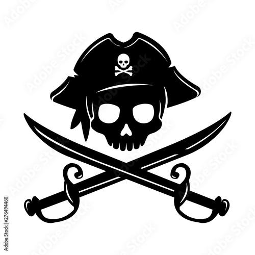 Fotografie, Obraz Pirate skull emblem illustration with crossed sabers.