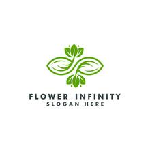 Green Infinity Logo Template. Eco Leaf Icon Symbol Vector Illustration