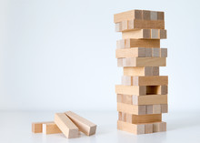 Wooden Block Tower Game Isolat...