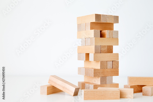 Wooden block tower game isolated on white background Tableau sur Toile