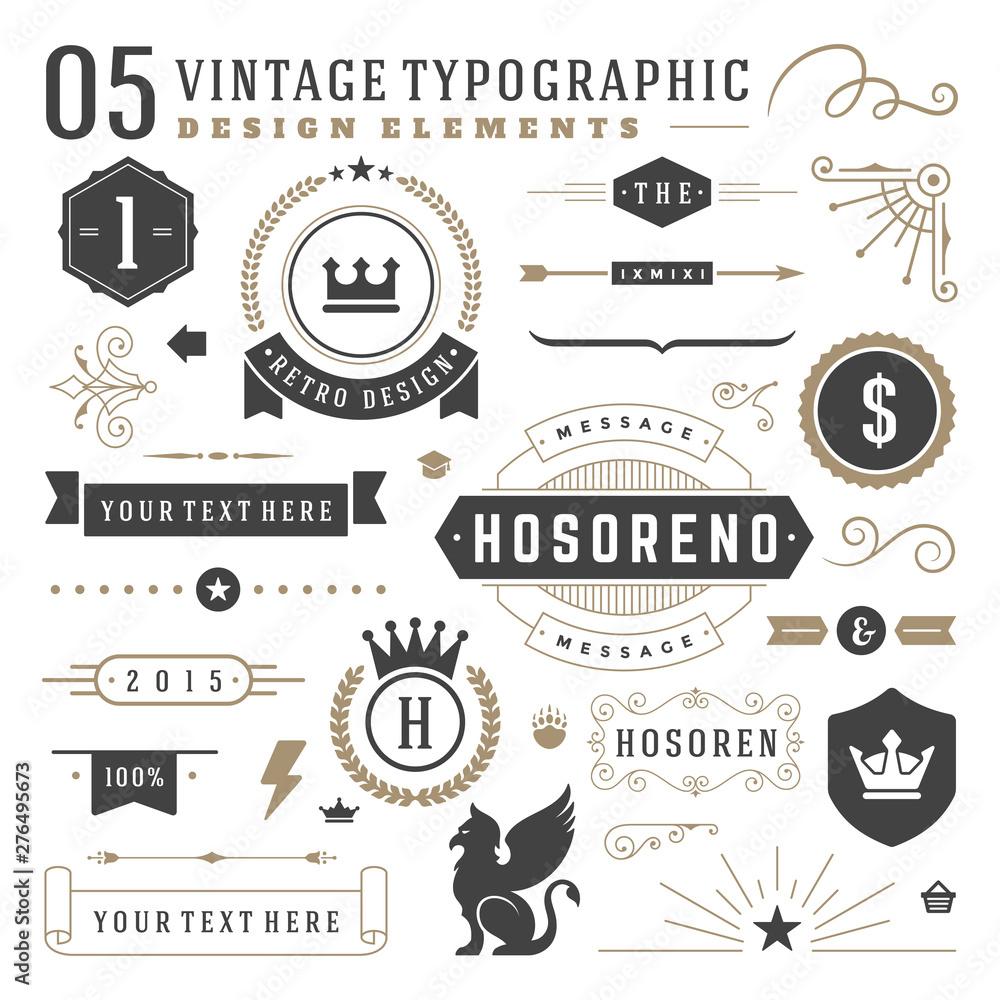 Fototapeta Vintage typographic design elements set vector illustration labels and badges, retro ribbons, luxury ornate logo symbols